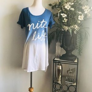 "Victoria's Secret Blue Pajamas  ""Nite Life"" shirt"